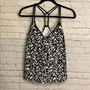 Kona Sol Swim Top Black White Large #AA019